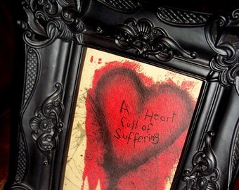 Romantic Heart Full of Suffering Art Print 5x7 By Agorables Lord of the Undead Ruler of Monsters Conjoined Twins