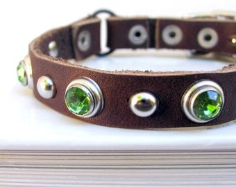 Chocolate Chip Mint Leather Cat Collar, EcoFriendly, Size to fit a 8-10in Neck, Handmade by Greenbelts in Seattle