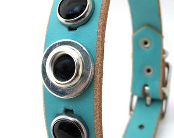 Aqua Blue Leather Dog Collar with Industrial Circles, Size XS-S, to fit a 9-11 Neck, Small Dog, Handmade, Eco Friendly, OOAK