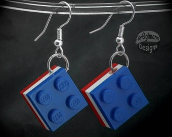 Patriotic Tile Dangle Earrings - made with LEGO bricks