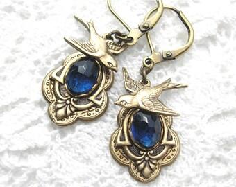 Sparrows Retreat Brass Earrings - Montana Blue Glass