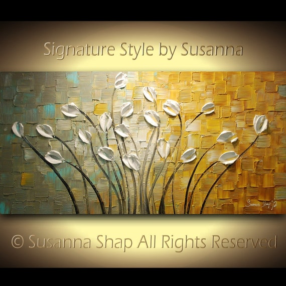 ORIGINAL Large Impasto Landscape Abstract Grey Tan White Tulips Oil Painting Modern Palette Knife Art by Susanna 48x24