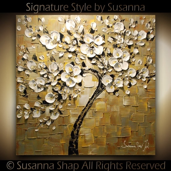 ORIGINAL Large Square Abstract Contemporary White Cherry Blossom Tree Oil Painting Thick Texture Gallery Fine Art Ready to Hang 30x30