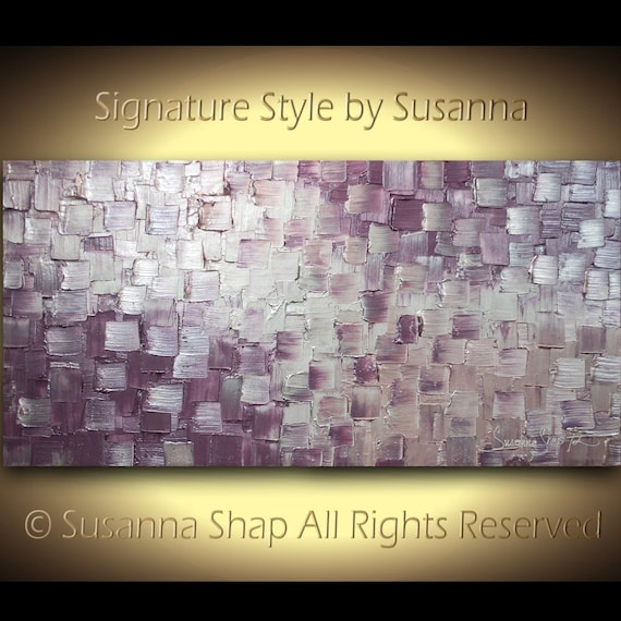 original abstract metallic eggplant aubergine purple & silver painting modern squares texture palette knife large  by susanna 48x24