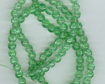 Green Crackle Beads, 4mm Grass Green Crackle Glass Round Spacer Beads 15 in Strand Bead Spacers