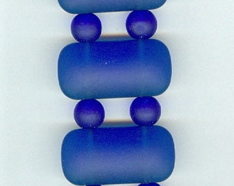 16x8mm Royal Blue Double Hole Rectangle and 6mm Round Sea Glass Beads