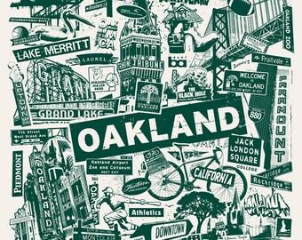 Oakland California Northern City Silk Screen Collage Print Poster Raiders Athletics - Etsy