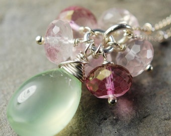 Prehnite, Rose and Pink Quartz Necklace, Wire Wrapped Gemstones on Sterling Silver Chain, Flower Cluster