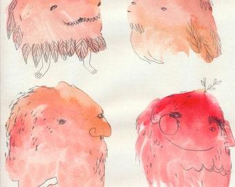 SALE Monster Splodge Sketch Style V1 Original by Emma Kidd