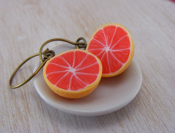 Ruby Grapefruit Earrings
