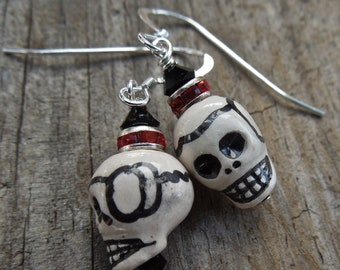 Red and Black Sugar skull earrings