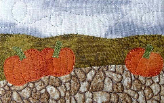 Autumn Fabric Postcard Art Quilt, Fall Pumpkin Greeting Card