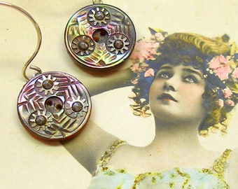 Antique BUTTON earrings, Victorian mother of pearl buttons on sterling silver jewellery.