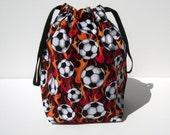 HOLIDAY SALE - Flaming Soccer Balls Drawstring Knitting Project Bag