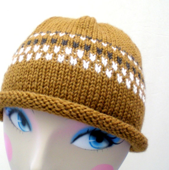 Hand Knit Wool Hat - Dark Toffee Brown and Cream