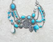 Octopus Aquarium - Statement Necklace - Quartz, Turquoise, Mother of Pearl, Glass and Metal