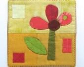 Hand Embroidered Fiber Art Mini Quilt - Textile Wall Hanging - Wall Decor - Flower - Kids Decor