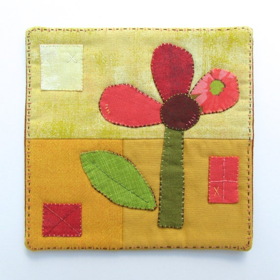Hand Embroidered Fiber Art Mini Quilt - Textile Wall Hanging - Wall Decor - Flower - Kids Decor
