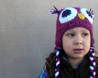 Ready to Ship, Last Minute Gift - Owl Hat in Magenta, Woodland Bird Stocking Capfor Girls, Newborn Girls, Toddler Girls