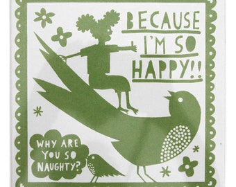 Why Are You So Naughty ceramic tile (Green)