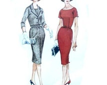 Vintage Late 50s Early 60s Sewing Pattern Uncut Scoop Neck Sheath Dress Skirt and Cropped Jacket McCalls 5507 34 Bust