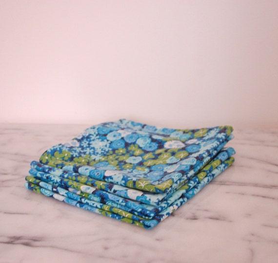 vintage blue and  green floral cloth napkins set of four spring flowers