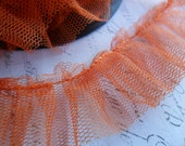 Orange Gathered Tulle Ruffle 1.5 inches wide
