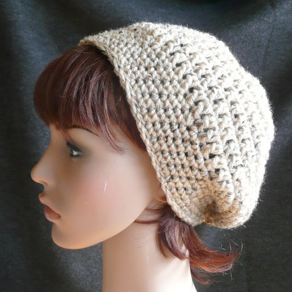 Slouchy Beanie in Oatmeal - Beige Tweed, light and soft