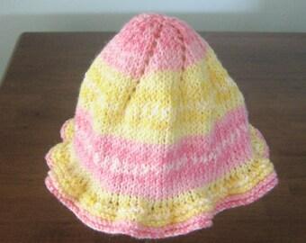Knit Ruffle Hat Size 12 - 18 mos.