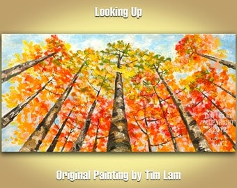 Tree Art Abstract Painting original Acrylic Painting Blue sky Olive tangerine aspen forest art large Landscape Painting by tim lam 48x24