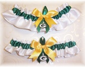 custom listing for Clarissa  - Garter set with both Vikings and Packers charms all white satin