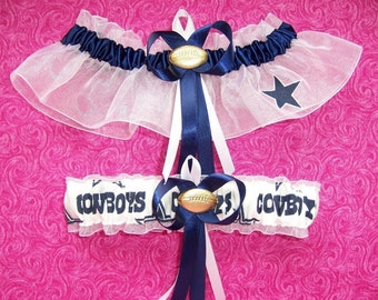 Dallas Cowboys Wedding Garter Set    Handmade   Keepsake and Toss