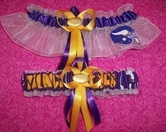 Minnesota Vikings Wedding Garter Set    Handmade   Keepsake and Toss