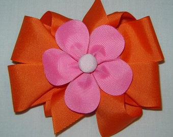 3 in One Hairbow in Tropical Orange and Hot Pink