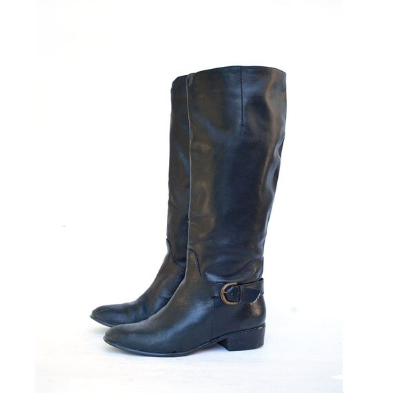 size 7.5 black leather riding boots