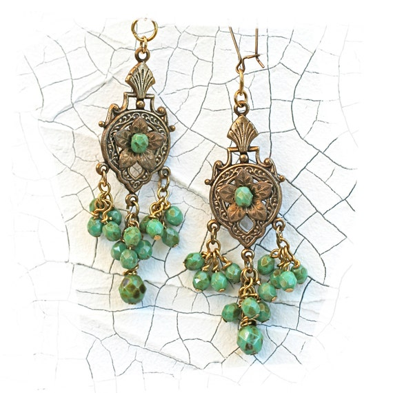 turquoise dangle earrings brass stampings