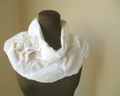 Snow Scarf Infinity White Jersey Cowl Collar Necklace Tattered Shabby Chic Gauze Wispy Boho Chic Bespoke Fashion Accessory