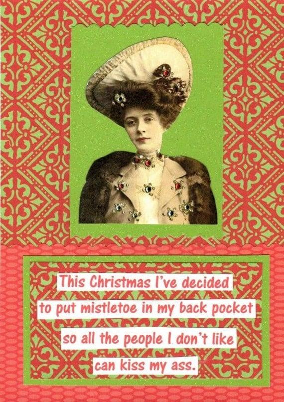 Mistletoe Mature Humor Christmas Card