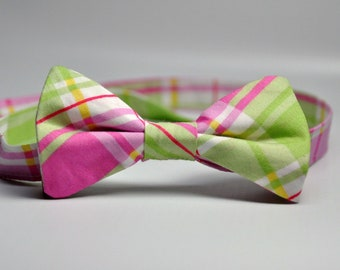 Little Boy's  Pink and Green Plaid Bow Tie