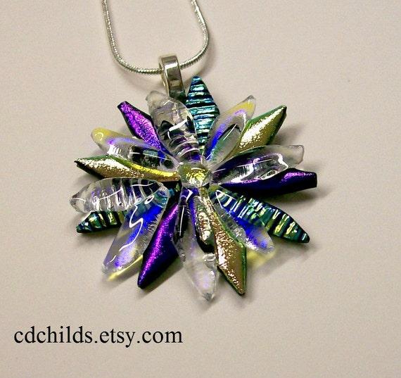 Fused Glass Dichroic Flower Pendant 002