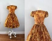 1960s Autumn Poppies chiffon full skirt party dress -SM