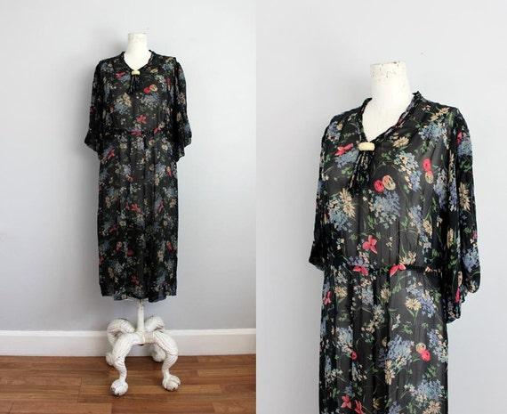1930s NIGHTTOWN black & floral sheer organdy dress / Bakelite necktie M