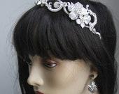 Milla Romantic, Vintage looking Crystal and Pearl Headpiece/ bridal comb
