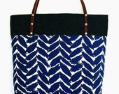 Large Blue Leaves Tote with Leather Straps