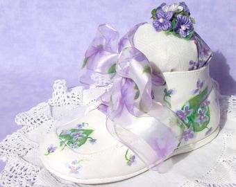 Pincushion Spring Violets Baby Shoe