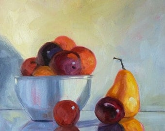 Still Life Oil Painting, Original 12x12 on Canvas, Colorful Fruit Bowl, Plums, Pears, Wall Decor, Kitchen Art, Peach, Blue, Yellow, Orange