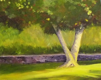 Landscape Oil Painting, Original Tree Art, 12x12 Canvas, Woodland Park, Wall Decor, Green and Yellow, Home Decor, Square Format