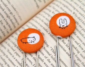 Planner Clip, Fabric Button, Jumbo Paperclip, Bookmark - Spotlight Monsters in Orange