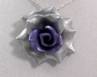 Ombre Purple Rose Pendant - Simple Rose Necklace - Purple and Silver Rose - Handmade Clay Rose Pendant - Wedding Jewelry #191 Ready to Ship