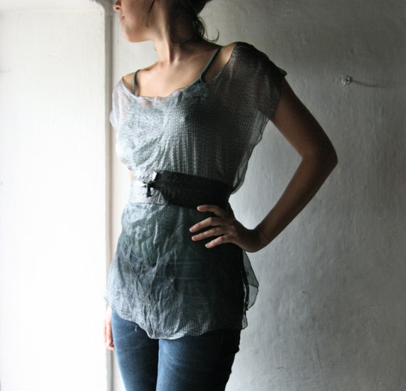 grey sheer tank top - ombre silk camisole - scoop neck chiffon blouse